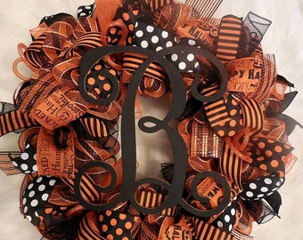 PRE-LABOR DAY Sale Halloween Marquee Wreath, Halloween Wreath, Happy Halloween, Wreath, Wreaths, Halloween wreaths,Happy Halloween, Orange a