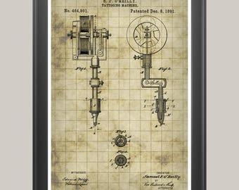 Tattoo Machine Poster, Tattoo Machine Patent, Tattoo Poster, Tattoo Gun Print, Tattoo Machine Art, Tattoo Art, Tattoo Parlor Art P263