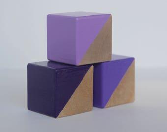 3 Purple Painted Wooden Blocks