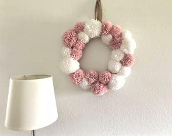 Pom pom wreath, baby shower decor, wreath, gift idea, nursery decor, home decor, decor for wall, kids room decor
