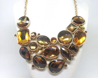 Joan Rivers Citrine Amber Gold Quilt Cut Acrylic Crystal Bib Necklace