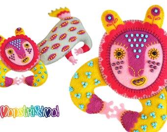 Candy Beast Unique Handmade Felt Toy OOAK