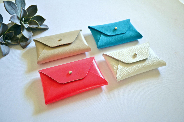 White leather card holder / White envelope card holder / White ...
