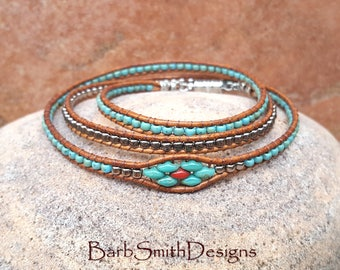 3-Wrap Southwest Bracelet-Turquoise Silver Beaded Wrap Bracelet-Magnet Clasp Bracelet-Custom Sizes-Triple Mini in Turquoise n' Coral