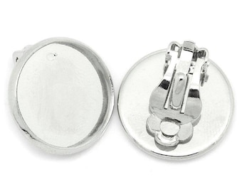 BO 1kit clip for non pierced ears, support and 16mm glass cabochon