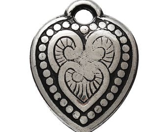 1 antique CCB imitation silver heart pendant, 20/25 mm