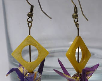 Origami crane earrings