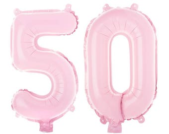 Non-Floating 50 Number Balloons 50th Birthday Party Decorations Small 13 Inch Pink Balloon Numbers