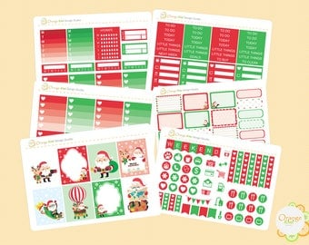Christmas Weekly Kit for Erin Condren Life Planner, Christmas Planner Stickers, Happy Planner, Filofax, Mambi