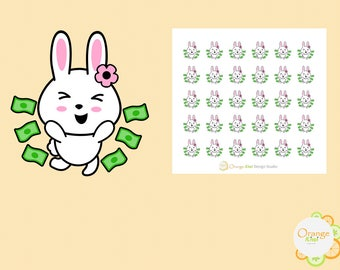 Pay Day Stickers, Money Stickers, Bunny Stickers, Planner Stickers