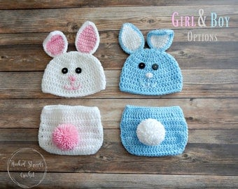 Easter bunny set, Crochet photo prop, Rabbit hat, Baby Easter outfit, Baby boy, Baby girl, Diaper cover set, Baby shower gift, Newborn photo