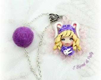 Collana con fiocco di neve lilla e dollina