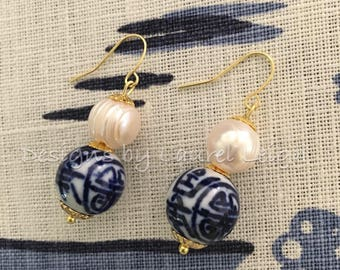 Blue and White Chinoiserie Earrings | dainty, lightweight, statement earrings, pearl, Chinese, dangle, drop, June, birthstone