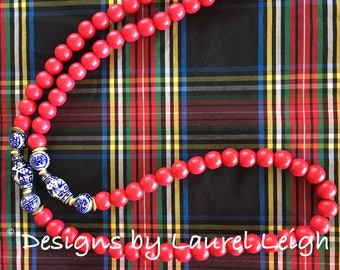RED, White and Blue Beaded Necklace - Chinoiserie, blue and white, long, Ole Miss, red white and blue, holiday outfit