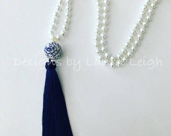 PEARL Chinoiserie Tassel Necklace | navy, blue and white, gold, long, statement necklace, Designs by Laurel Leigh