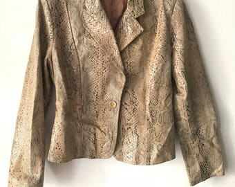 Classic Short Vintage Brown Genuine Leather Jacket Women's Small.