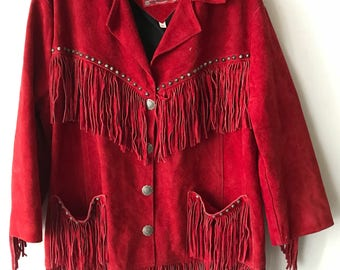 Classic Mid Length Retro Style Red Suede Western Fringed Jacket Man Size Large.