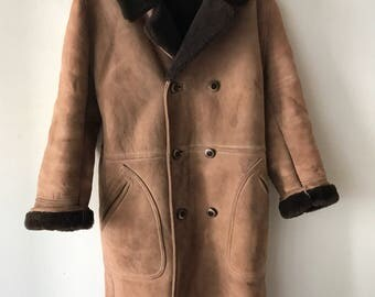 Sheepskin fur long woman coat size medium .