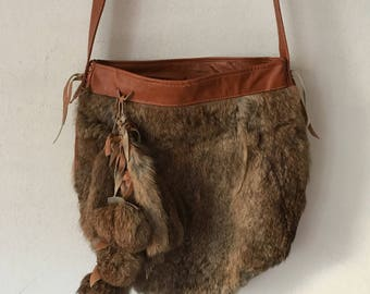 Fluffy fur fabulous bag real rabbit fur & leather with decoration new designer bag handmade bag steep women's bag brown bag has size-medium.