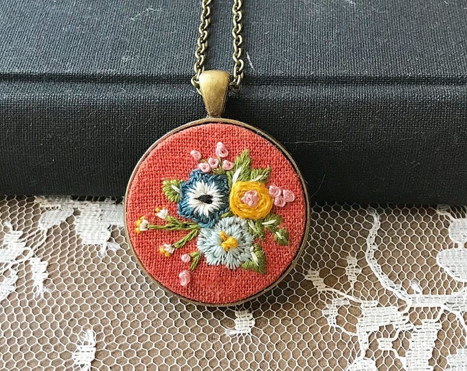 Hand Embroidered Floral Pendant