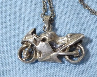 Sterling Silver Necklace Pendant Charm Motorcycle Motorbike Racing