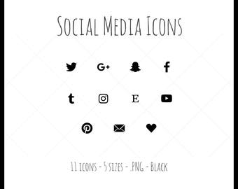Social Media Icons - 11 icons in 5 sizes, black, PNG files, solid icon, dark gray