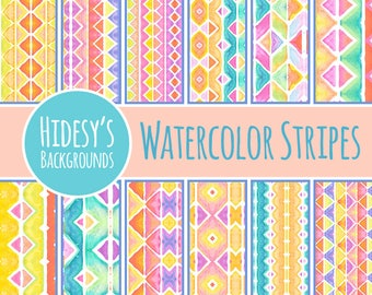 Watercolor Digital Paper - Watercolor Stripes Digital Paper / Patterns Commercial Use Backgrounds