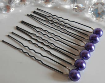 Set of 6 wedding hair pins purple beads