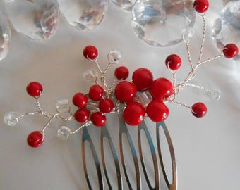 Red passion beaded flowers wedding hair comb