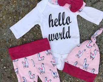 Newborn Baby coming home outfit, Pink fushia , hello world baby girl shower gift coming home from the hospital outfit baby girl