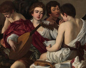 The Musicians by Caravaggio Poster A3 or A4 Matt, Glossy or Art Canvas Paper