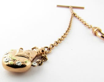 Antique 14K Rose Gold Watch Fob Chain with Perfume Bottle#45