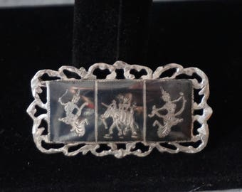 Vintage Siam Sterling Silver Brooch Pin with 3 images, Black Enameled Goddess Jewellry