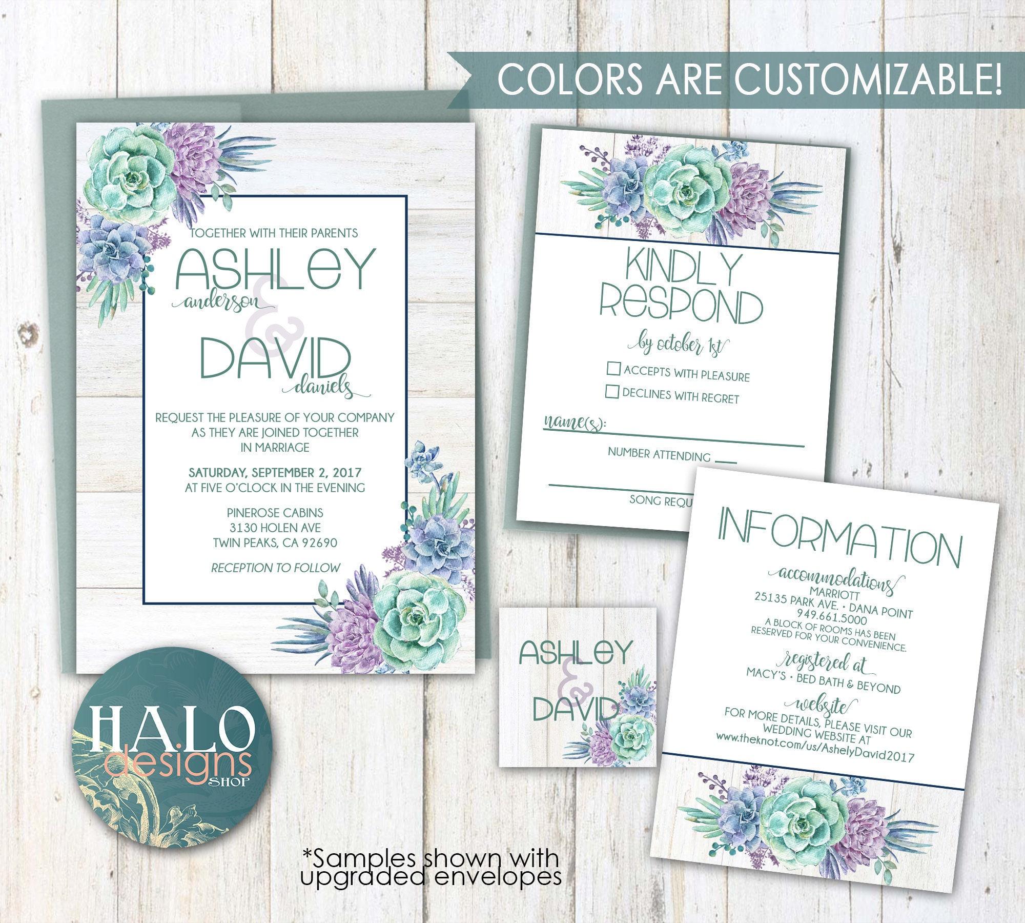 Succulent Wedding Invitations - purple, green, navy, blue, coral ...