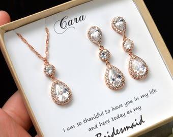 rose gold Bridesmaid Jewelry Weddings Bridesmaid Earrings Bridesmaid Gift Bridal Earrings Jewelry Wedding Jewelry