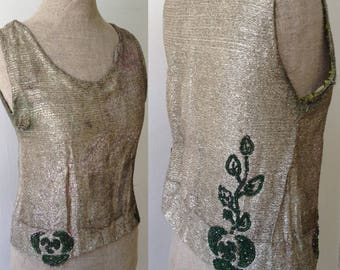 Vintage showgirl chorus line gold lamé outfit with beaded top headpiece and cuffs SOLD AS IS