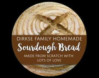 Customized Label - Sourdough Bread, Watercolor Style Label - Watercolor Bread Boule Label - Custom Bakery Labels