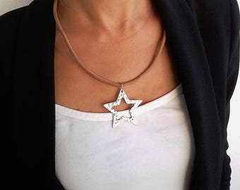 Boho Jewelry. Leather Choker necklace. Star pendant necklace. Gift for Her. Christmas Gifts for Her. Gift for Wife.