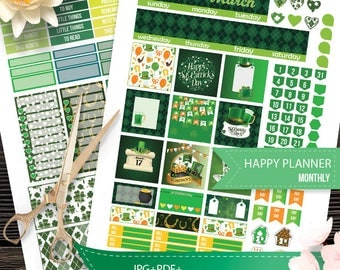 March Monthly Kit planner stickers, Happy Planner Stickers,St. Patrick's Day, March Planner Stickers Planner Silhouette and Cricut Cut Files