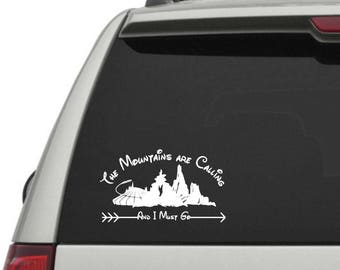 Disney Mountains Decal!  Yeti, Car, Water Bottle Decal Or Shirt Iron On!  The Mountains Are Calling Space Mountain Decal, Disney Trip Decal