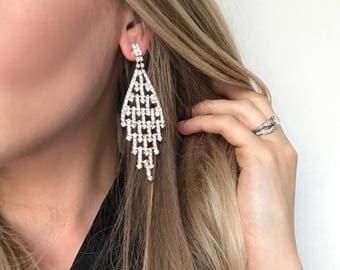 Rebaecca Clear Crystal NPC Bikini Fitness Competition Earrings