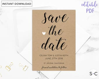 Rustic Save the Date Template, Save the Date Printable, Save the Date, Calligraphy Save the Date, Save the Date Cards