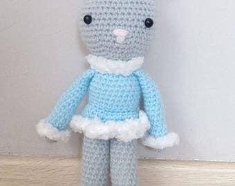 Amigurumi Bunny grey and blue