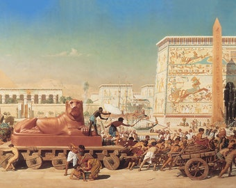 Old Egypt Moving Away - Egyptian Art - Handmade Oil Painting On Canvas