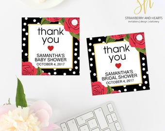 Floral Thank You Tag, Red Roses, Red Flowers, Bridal Favor Tags, Baby Favor Tags, Birthday Favor Tags, Party Favor Tags, Print At Home, SH60