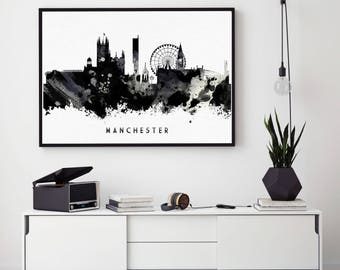 Manchester Print, Manchester City, Black And White, Manchester Poster, Manchester Skyline, Manchester Gift, Abstract Art  (N114)