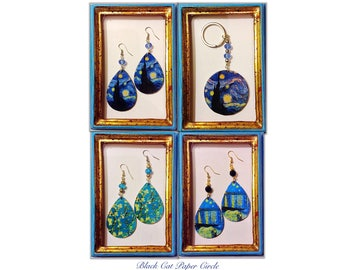 Vincent Van Gogh-starry, starry night over the Rhone, handmade keychains and earrings wooden fishing boats decoupage art