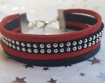 Multi strand red and Black Suede bracelet