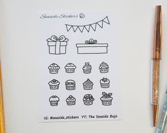 birthday cupcakes || doodles || bullet journal stickers