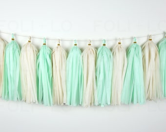 FRESH MINT Tassel Garland | Baby Reveal Garland | Baby Shower Garland | Baby Garland | Nursery Garland | Birthday Garland | 15